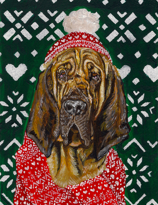 Bloodhound in a Hat and Scarf